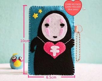 Cute DIY Chibi Noface card pouch/noface doll keychain/Miyazaki Ghibli Spirited Away/カオナ/Kaonashi/千と千尋の神隠し/Faceless/Noface bus pass wallet
