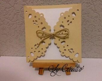 10 INVITATIONS / rustic, nature wedding invitation laser - fully customizable, color choice