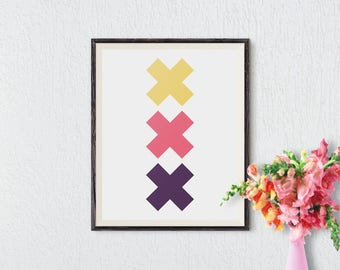 Minimalist Print, Geometric Print, Printable Wall Art, Modern Home Decor, Cross Print, Wall Decor, Cross Art, Instant Download, Colorful Art