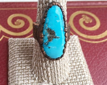 Sleeping Beauty Turquoise Ring | electroformed turquoise ring, turquoise jewelry, big turquoise ring, turquoise and copper ring