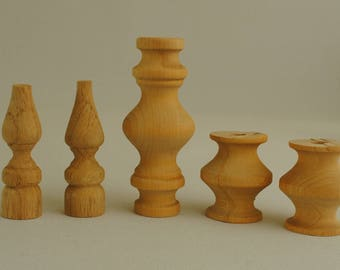 Solid Wood Turnings or Finials 5 Pieces