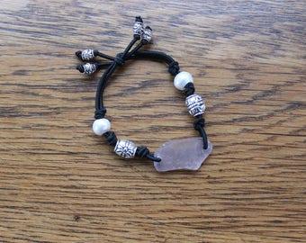 Lavendar Beach Glass Stretch Bracelet