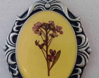 Vintage pressed flower pendant necklace