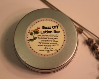 Buzz Off Lotion Bar TINS - bug repellant - bug repellant bars - kid safe bug repellant - DEET free bug lotion - natural bug repellant
