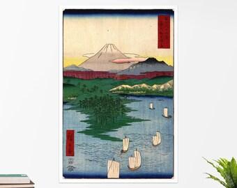 "Utagawa Hiroshige, ""Noge and Yokohama"".  Art poster, art print, rolled canvas, art canvas, wall art, wall decor"