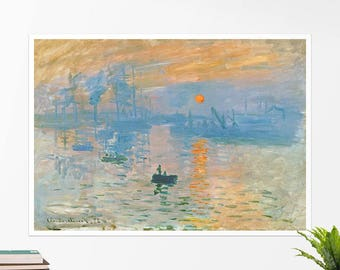 "Claude Monet, ""Impression Sunrise"".  Art poster, art print, rolled canvas, art canvas, wall art, wall decor"