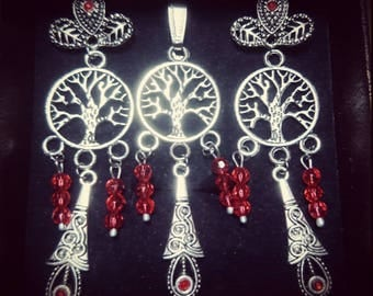Set earrings and tree of life pendant