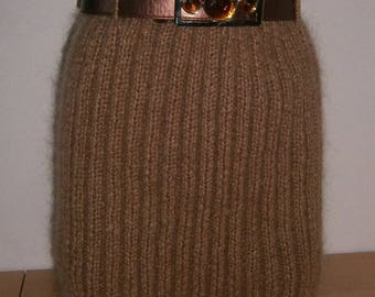 Hand knitted skirt with mohair