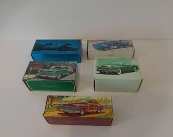 Avon Products Collectors Set (5)-Vintage cars/autos glass decanters 1940-59, Cologne Bottles