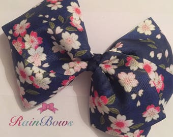 Navy floral large boutique hair bow