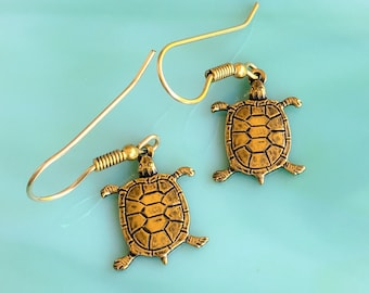 Turtle Earrings | Sea Turtle Earrings | Turtle Jewelry | Boho Earrings | Nature Jewelry | Animal Jewelry | Gifts for Her | Vintage Jewelry