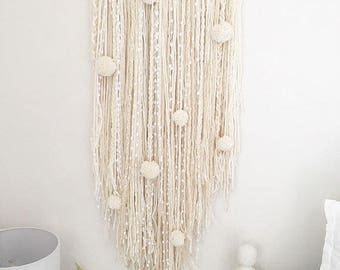 Wall Art Hanging pompom plait driftwood