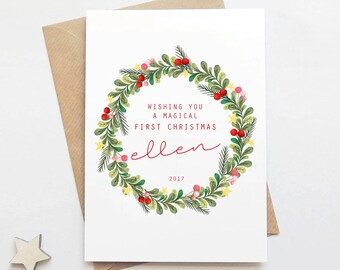 First Christmas Personalised Card - Vintage Christmas - New Baby - Personalised Card - Baby Christmas Card - Christmas Gift