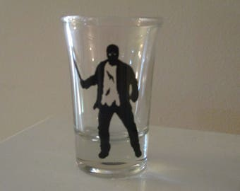 Jason Vorhees Shot Glass Friday the 13th Horror Halloween Drinking Bar Gift for Him Her Merch Massacre