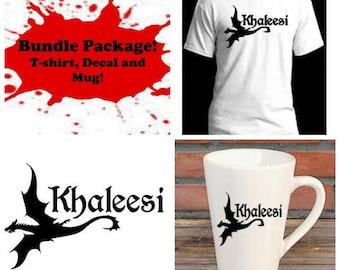 Khaleesi Mother of Dragons Game of Thrones Bundle Gift Package Unisex Shirt Decal Mug Present Horror Lover Decor Halloween Merch Massacre
