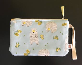 """Handmade small zipper purse for notions and accessories 8.5"""" x 5.5""""  *Polar Bears*"""