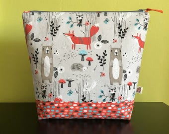 """Handmade large zipper pouch for knitting and crochet project 11.5"""" x 7.5"""" x 9.5"""" x 3.5""""  *Gathering in the Woods*"""
