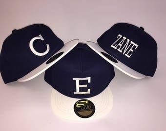 Personalised SnapBack Hat Blue and White