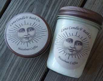 Hazelnut coffee 8 oz soy wooden wicked candle
