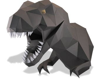 DINOSAUR HEAD | Pre-cut parts kit | low-polygonal style | DIY | Papercraft