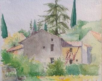 Watercolor watercolor acuarela wasserfarbe aquarel wall original original Provence vineyard vines entrechaux
