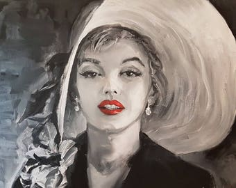 Original oil painting Marilyn Monroe on canvas
