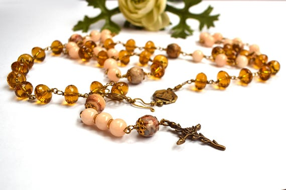 Saint Clare of Assisi Rosary - Gemstone rosary - Catholic rosary - Franciscan necklace - First communion gift - Catholic gift, Saint Francis