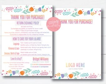 Lula Thank You Cards, Free Fast Personalization, Home Office Approved, Happiness Policy, LLR Return Policy, Care Card, For lularoe Retailer
