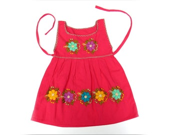 pink mexican baby dress  /  flower embroidery