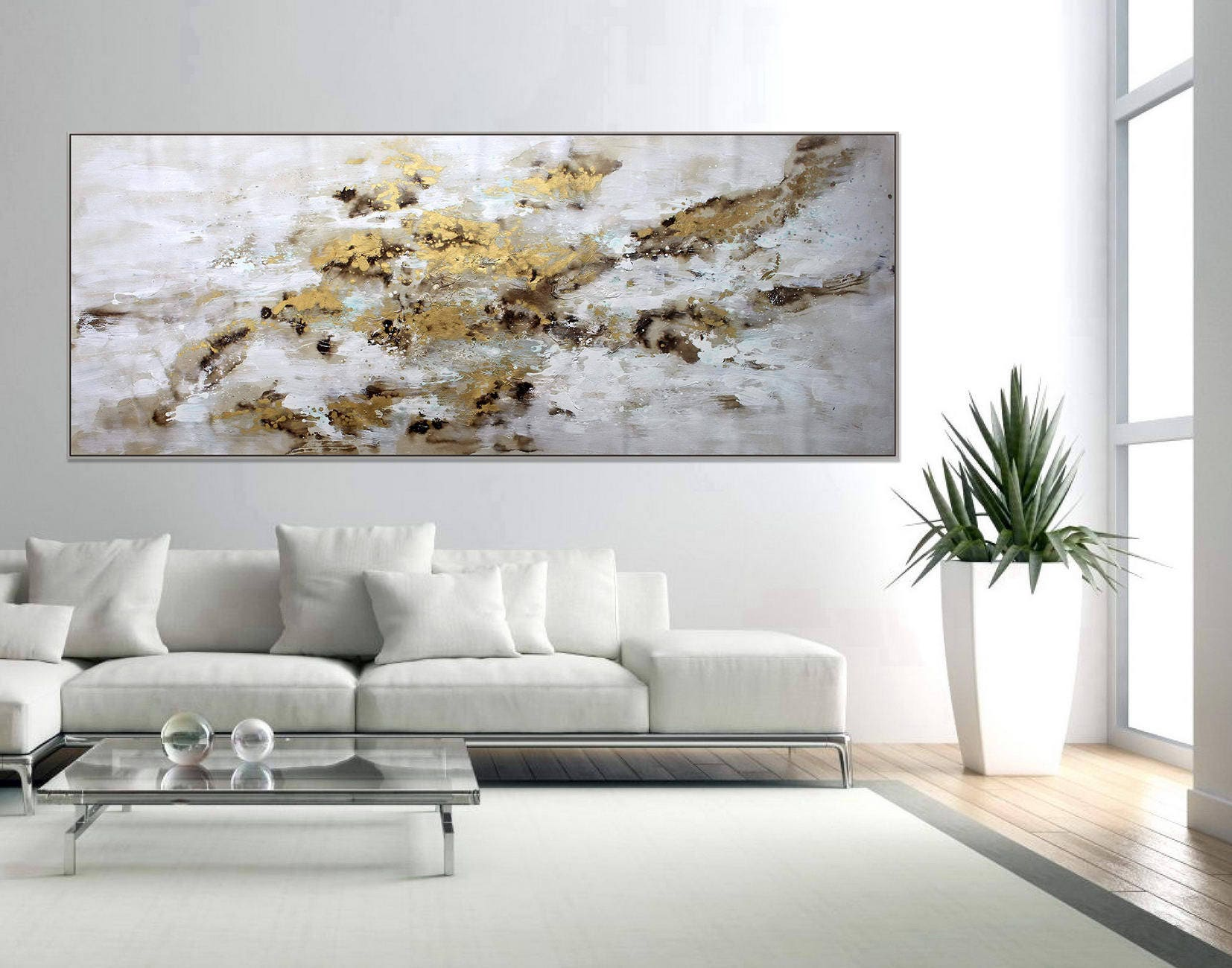 Gold Leaf Abstract Modern Wall Art Home Decor Painting