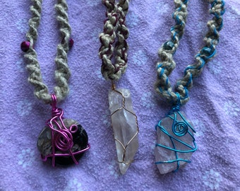 Wire Wrapped Hemp Necklaces