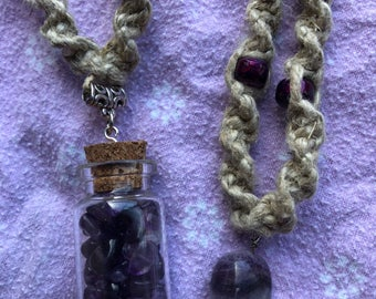 Amethyst Hemp Necklaces