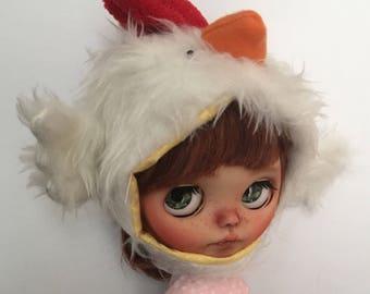 Blythe chin strap helmet, Blythe hat, Blythe animal hat, Blythe chicken hat