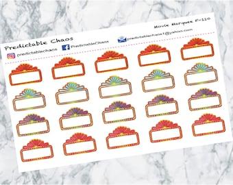 Movie Marquee, planner stickers