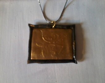 plate embossed Bird on a branch pendant