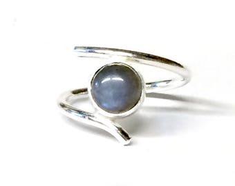 Blue Flash Labradorite Adjustable Ring