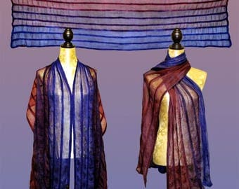 Silk stoles Tricolore, Nuno scarf, felt scarf, silk, wool