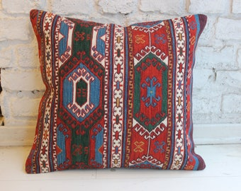"Beautiful Soumac Rug Pillow, Decorative Pillow,Handmade Pillow,Vintage Home Decor,16""x18"" inches,42x46 cm"