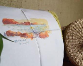 Watercolor - Caesarea 2016 - LaTchi handkerchiefs