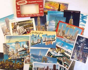 1940 RARE - 23 cards colorized postcards of New York
