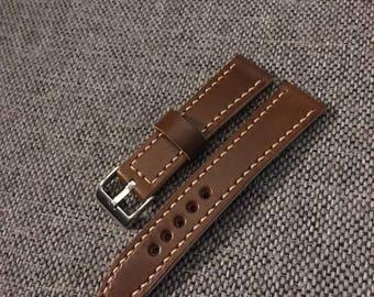 Walnut Leather watch strap 20/18mm - Handmade