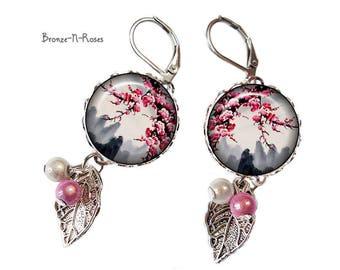 Sakura blossoms pink gray bronze cabochon earrings