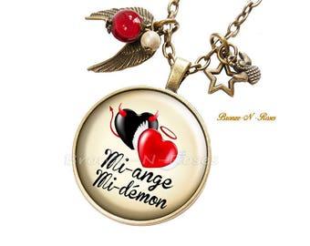 Necklace he half-demon black and Red bronze angels demons gift bronze-n-roses