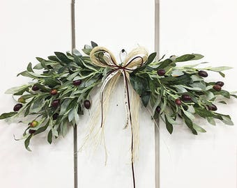 Artificial olive door swag / Door decor / Front door decor / Door hanger / Wall decor