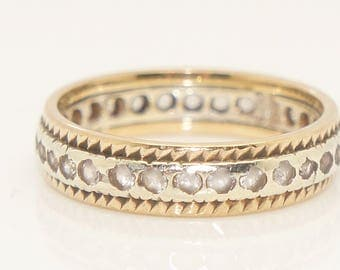 Vintage 9ct Gold Full Eternity Spinel Ring In White and Yellow Gold Size K