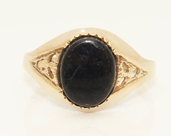 Vintage Unisex 9Ct Yellow Gold Oval Onyx Signet Ring, Size O 1/2