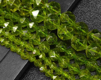 16 inch Natural Faceted Peridot Beads-6mm approx 66beads  8mm approx 50beads  10mm approx 40beads 12mm approx 33beads Gemstone Beads
