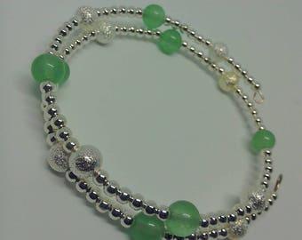 Malay Jade wraparound memory wire bangle