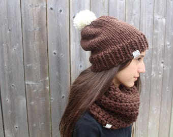 Chocolate brown slouchy and cowl set