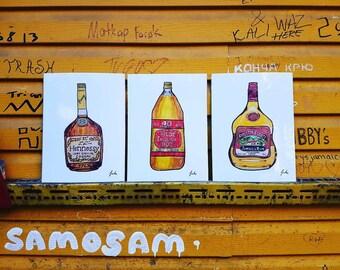 Liquor Bottle Bundle - 3 Prints 9x12